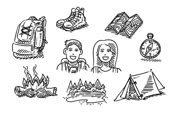 Couple Hiking Trip Vacation Icon Set Drawing Hand-drawn vector drawing of a Couple Hiking Trip Vacation Icon Set. Black-and-White sketch on a transparent background (.eps-file). Included files are EPS (v10) and Hi-Res JPG. women stock illustrations