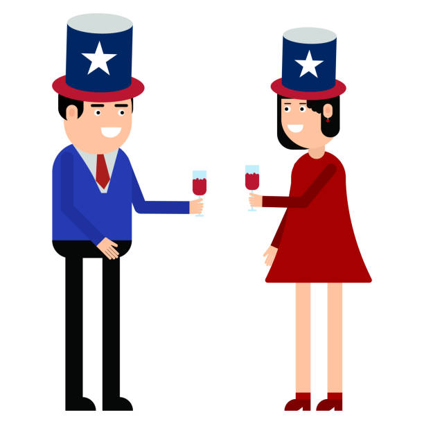 couple hold united states - family 4th of july stock illustrations