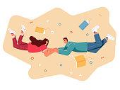 istock Couple holding flying between books. 1272962577