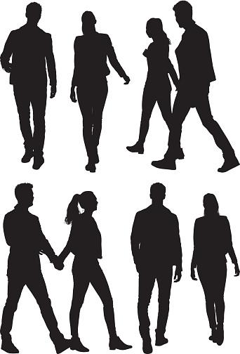 Couple Holding Hands And Walking向量圖形及更多2015年圖片