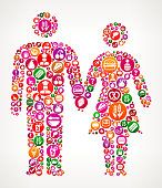 Couple Holding Hands Food and Diet Vector Icon Background. The main object of this illustration is composed with round colorful buttons with food, diet and nutrition icons on them. The icons are white in color and include a variety of nutrition and diet items. You will find such icons as fruit, dairy, meat, utensils and many more on this colorful vector composition.  The background of the illustration is white with a slight gradient around the edges.