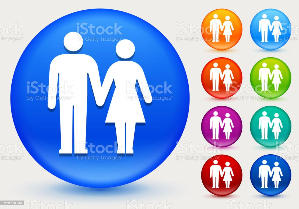 Couple Holding Hands Icon on Shiny Color Circle Buttons royalty-free couple holding hands icon on shiny color circle buttons stock vector art & more images of adult