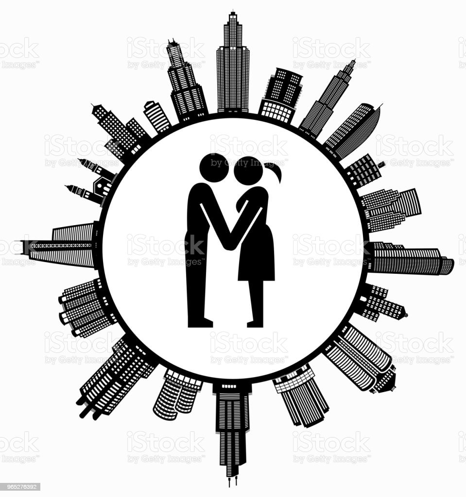 Couple Holding Hands on Modern Cityscape Skyline Background royalty-free couple holding hands on modern cityscape skyline background stock vector art & more images of adult