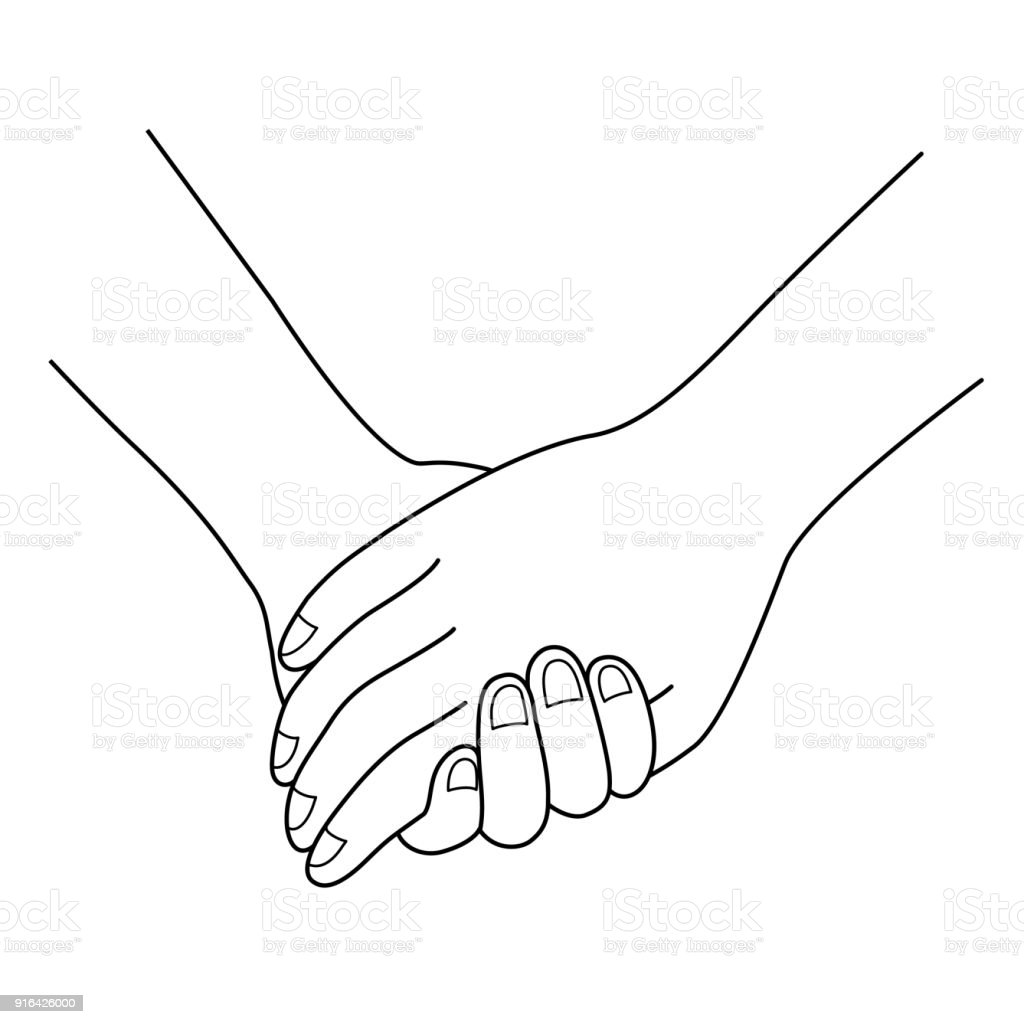 Line Drawing Holding Hands : Couple holding hands outline stock vector art more