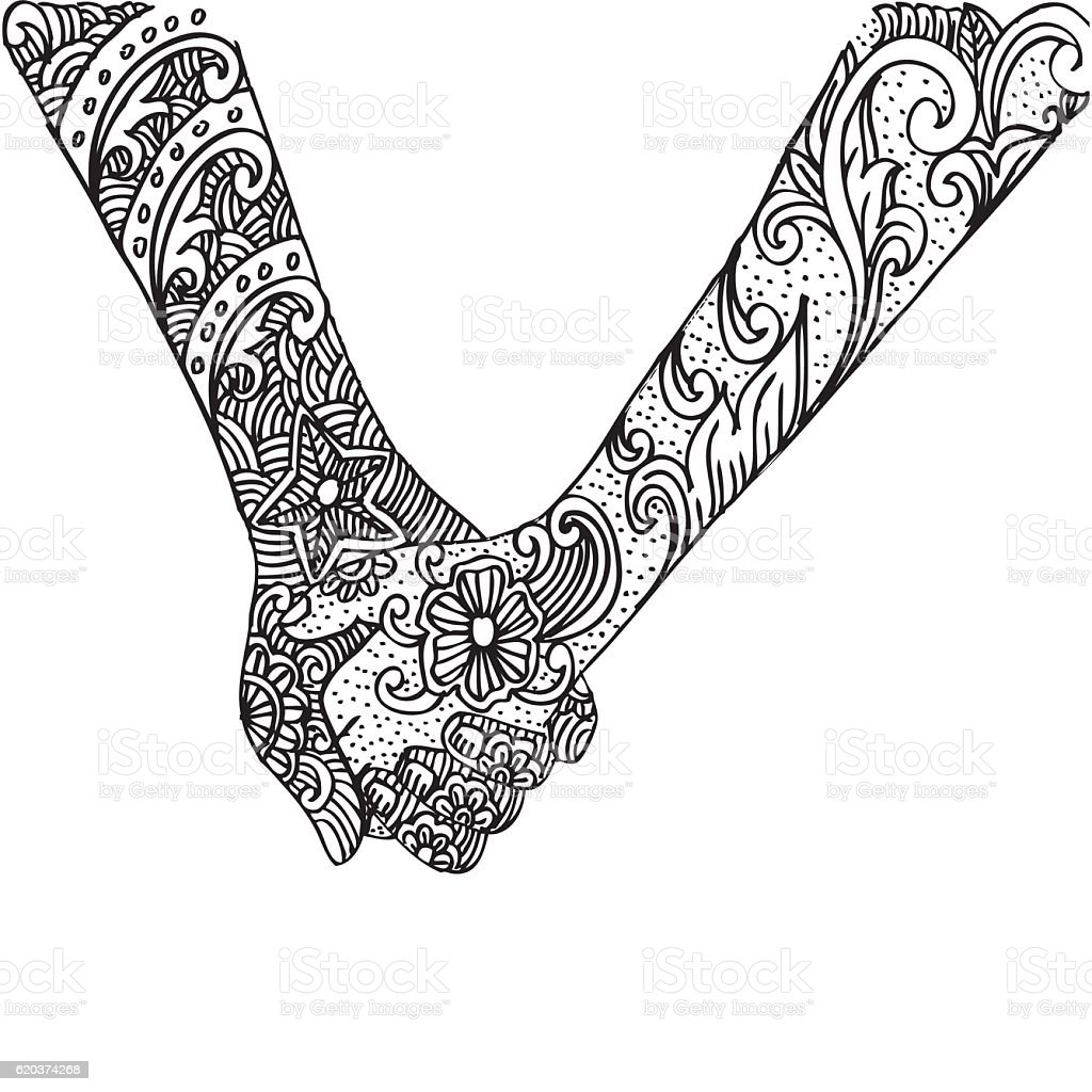 Couple holding hands with floral couple holding hands with floral - arte vetorial de stock e mais imagens de abstrato royalty-free