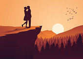 couple hug together near cliff and close to a pine forest,silhouette style,vector illustration