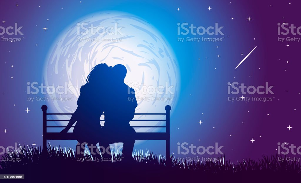 Couple hugs on a bench on background of full moon and  falling star. vector art illustration