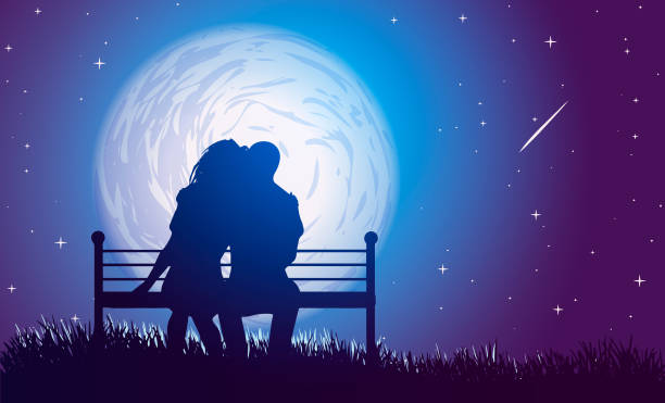 couple hugs on a bench on background of full moon and  falling star. - date night stock illustrations