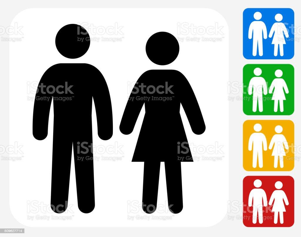 Couple Icon Flat Graphic Design vector art illustration