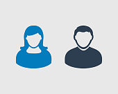 Couple Icon. Male and female symbol on gray background.