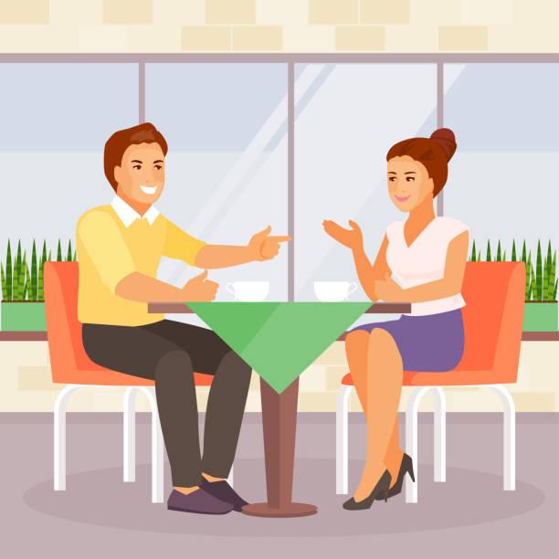 illustrazioni stock, clip art, cartoni animati e icone di tendenza di couple in a cafe - dinner couple restaurant