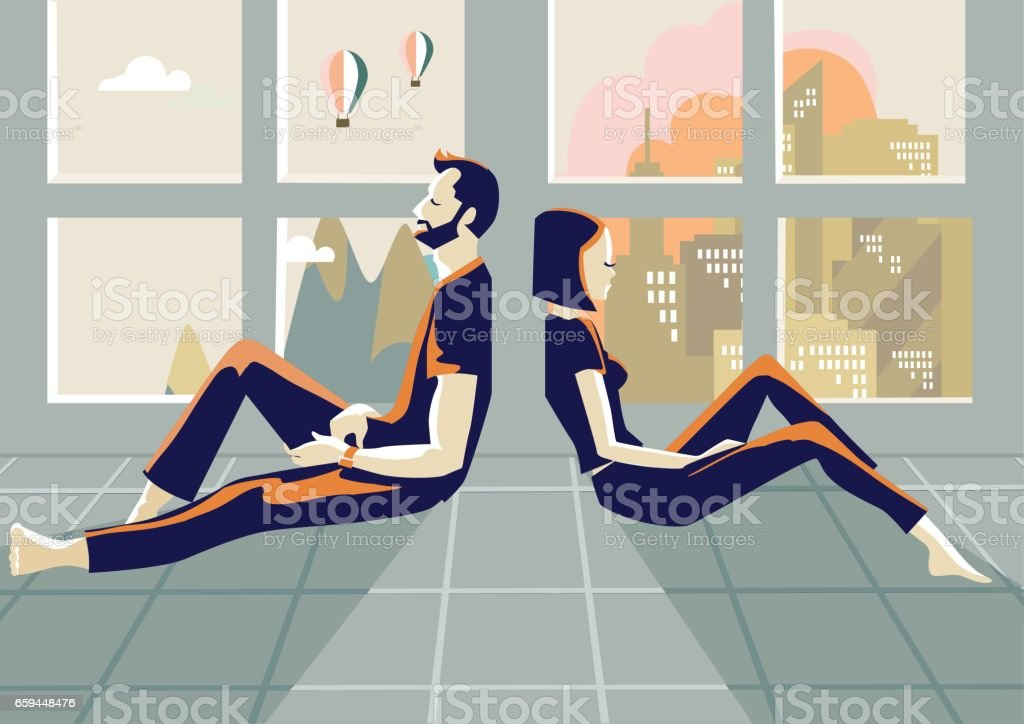 Couple in argue vector art illustration