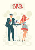 Couple Drinking in a Bar, retro illustration with a simple style. Easy color change