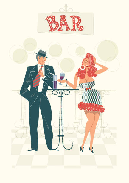 Couple In Bar Couple Drinking in a Bar, retro illustration with a simple style. Easy color change bilar stock illustrations