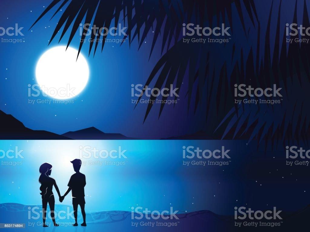 couple in beach 2 vector art illustration