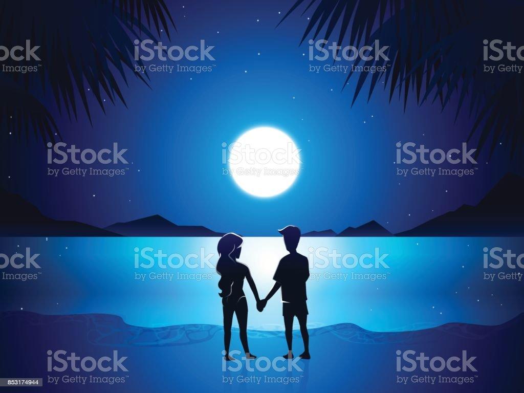 couple in beach vector art illustration