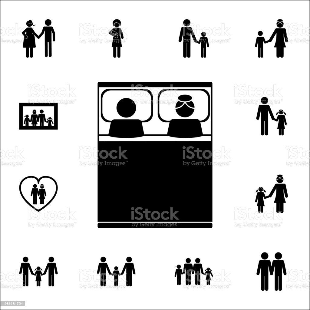 Paar Im Bettsymbol Detaillierte Set Von Familie Icons