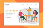 Couple in Cafe Flat Vector Landing Page Template. People Eating Burgers Web Banner Layout. Cartoon Characters Ordering Food in Cafeteria. Boyfriend and Girlfriend Dining in Restaurant Together