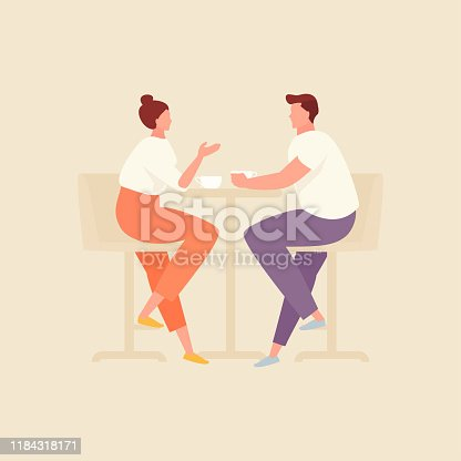 istock Couple in cafe vector illustration 1184318171