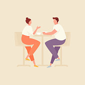 Couple in cafe drinking coffee and talking. Vector flat illustration