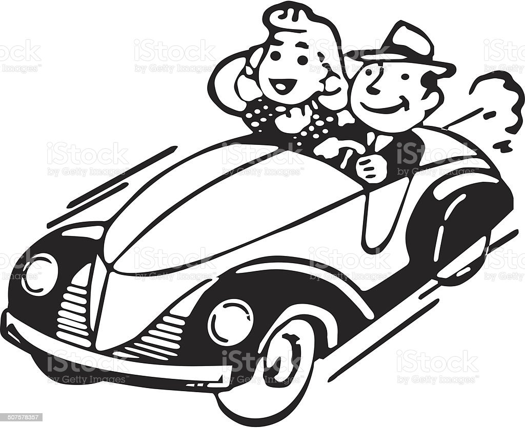 Couple in car vector art illustration