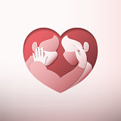 Couple in heart shaped with masks paper art