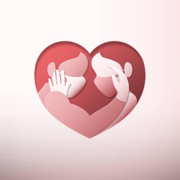 illustrazioni stock, clip art, cartoni animati e icone di tendenza di couple in heart shaped with masks paper art - near