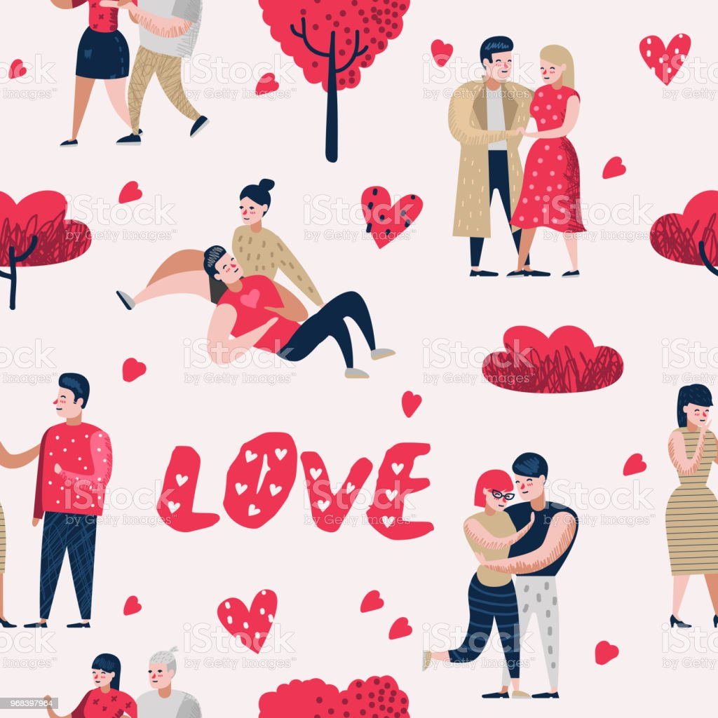 Couple En Amour Dessin Anime Personnages Personnes Seamless
