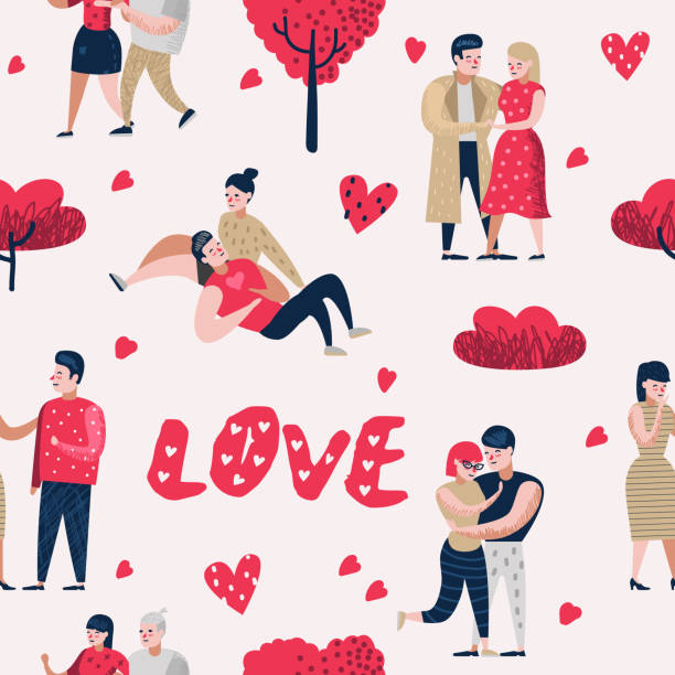 Couple in Love Cartoon Characters People Seamless Pattern. Valentines Day Background with Hearts and Romantic Elements. Love and Romance Concept. Vector illustration Couple in Love Cartoon Characters People Seamless Pattern. Valentines Day Background with Hearts and Romantic Elements. Love and Romance Concept. Vector illustration boyfriend stock illustrations