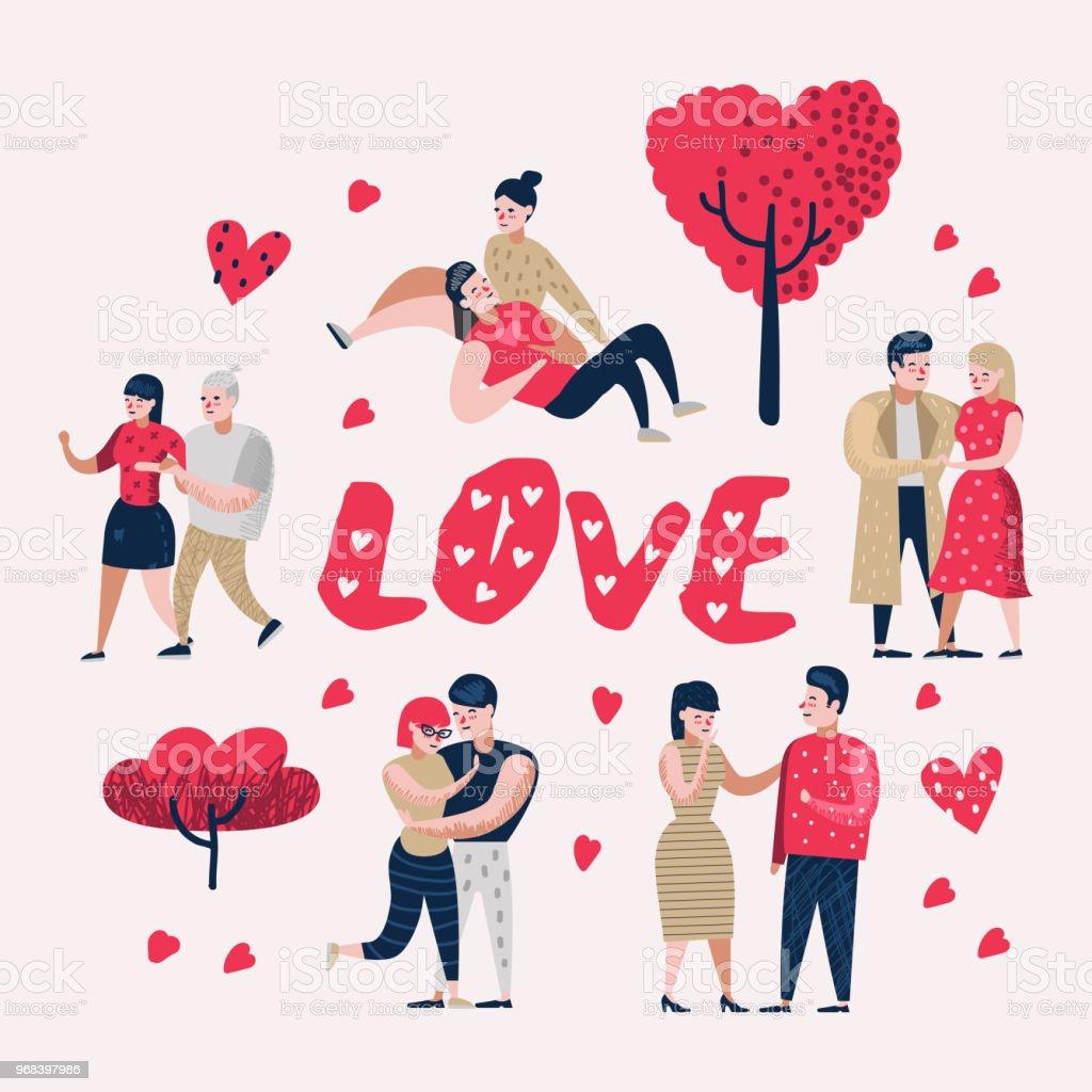 Couple En Amour Dessin Anime Personnages Personnes Valentin Doodle