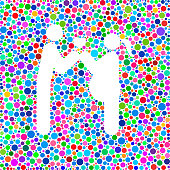 Couple In Love Expecting a Child Icon on Color Circle Background Pattern on color circle pattern background. The circles are vibrant and the icon shape is formed as a negative space on white background.  The circles are flat and vary in size and shades of color. Icon download includes vector graphic and jpg file.