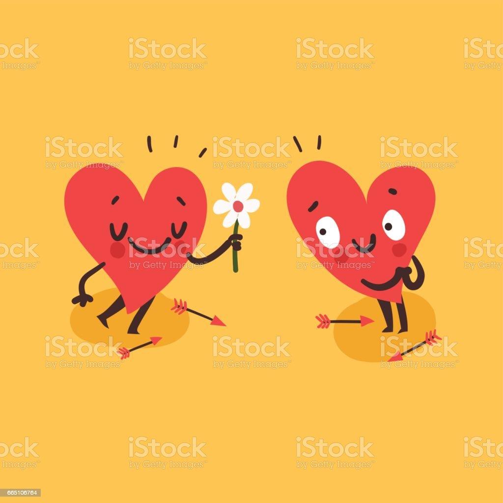 Paar In Liebe Konzept Süße Herzen Zeichen Mann Zu Frau