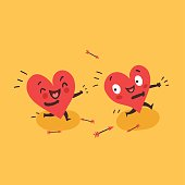 Couple in love concept. Two cute funny hearts running. One lover trying to catch its love.