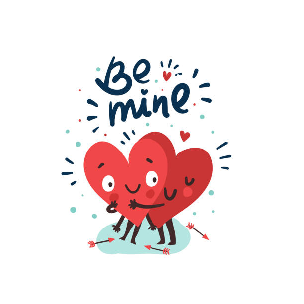ilustraciones, imágenes clip art, dibujos animados e iconos de stock de pareja en el concepto de amor, dos corazones lindos abrazos - día de san valentín