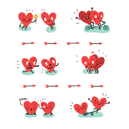 Couple in love concept. Two hearts doing funny activities togeth