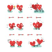 Couple in love concept. Two cute hearts doing various funny activities together: hugging, biking, jogging, yoga, swinging. Vector illustration in flat style