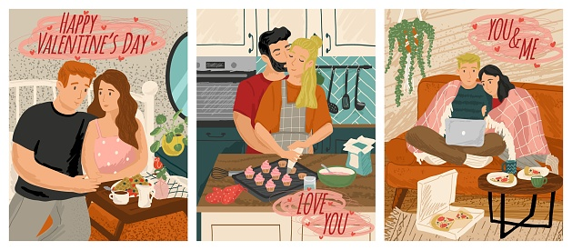 Couple in love cooking and watching movie together. Valentine day concept vector illustration. Romantic couple. Man brings breakfast to bed. Poster for 14 february holiday