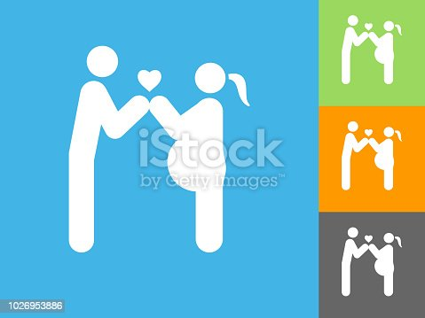 Couple In Love Expecting a Child Flat Icon on Blue Background. The icon is depicted on Blue Background. There are three more background color variations included in this file. The icon is rendered in white color and the background is blue.