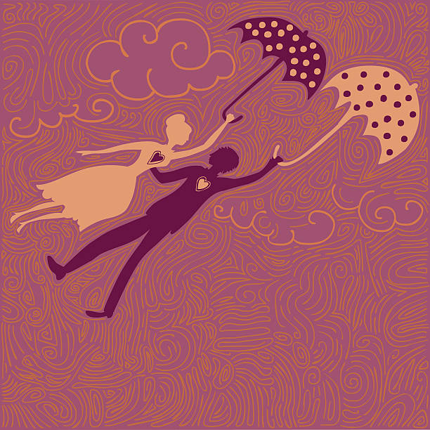 couple in love flying with umbrellas vector art illustration