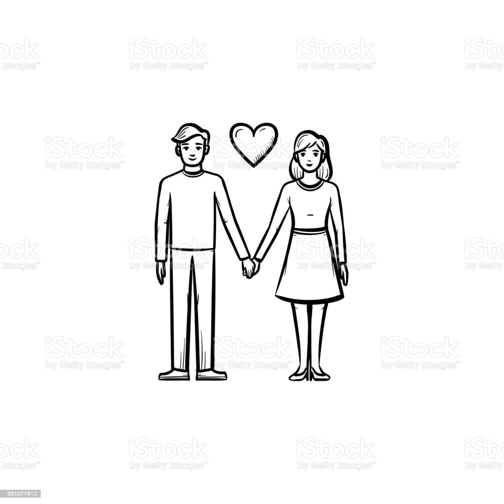 Couple In Love Hand Drawn Sketch Icon Royalty Free