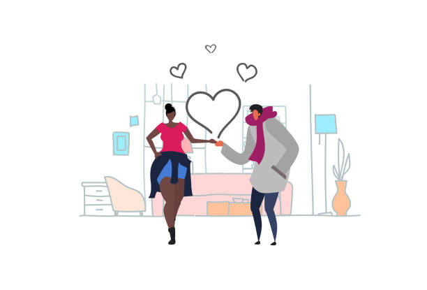 couple in love happy valentines day holiday celebrating concept mix race man woman holding hands over heart shapes living room interior sketch doodle horizontal couple in love happy valentines day holiday celebrating concept mix race man woman holding hands over heart shapes living room interior sketch doodle horizontal vector illustration african american valentine stock illustrations
