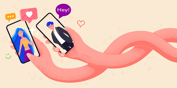 Couple in love holding phones in hand vector illustration. Dating application with man and woman on screen. Video call app minimal design. Make selfie with smartphone. Online dating chat. Office life