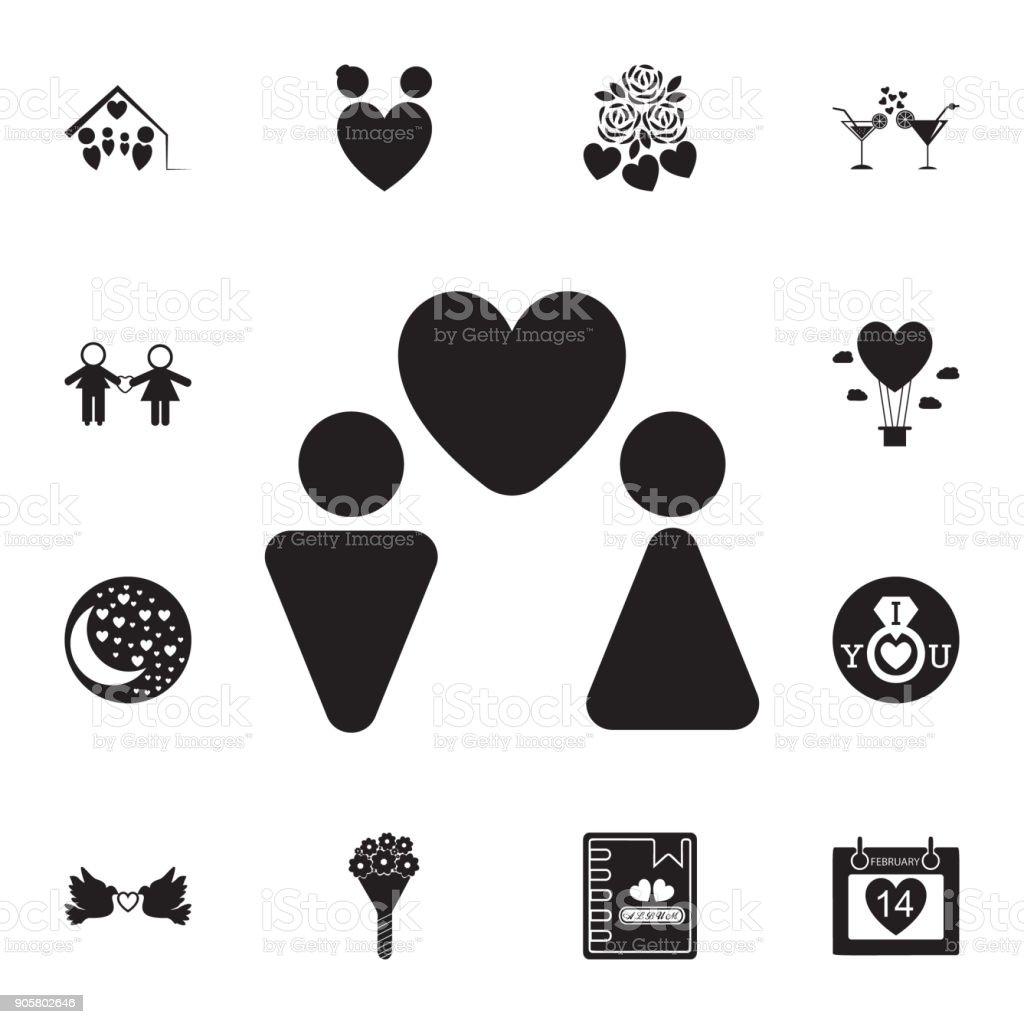 Ilustración De Pareja En El Icono Del Amor Conjunto De Icono
