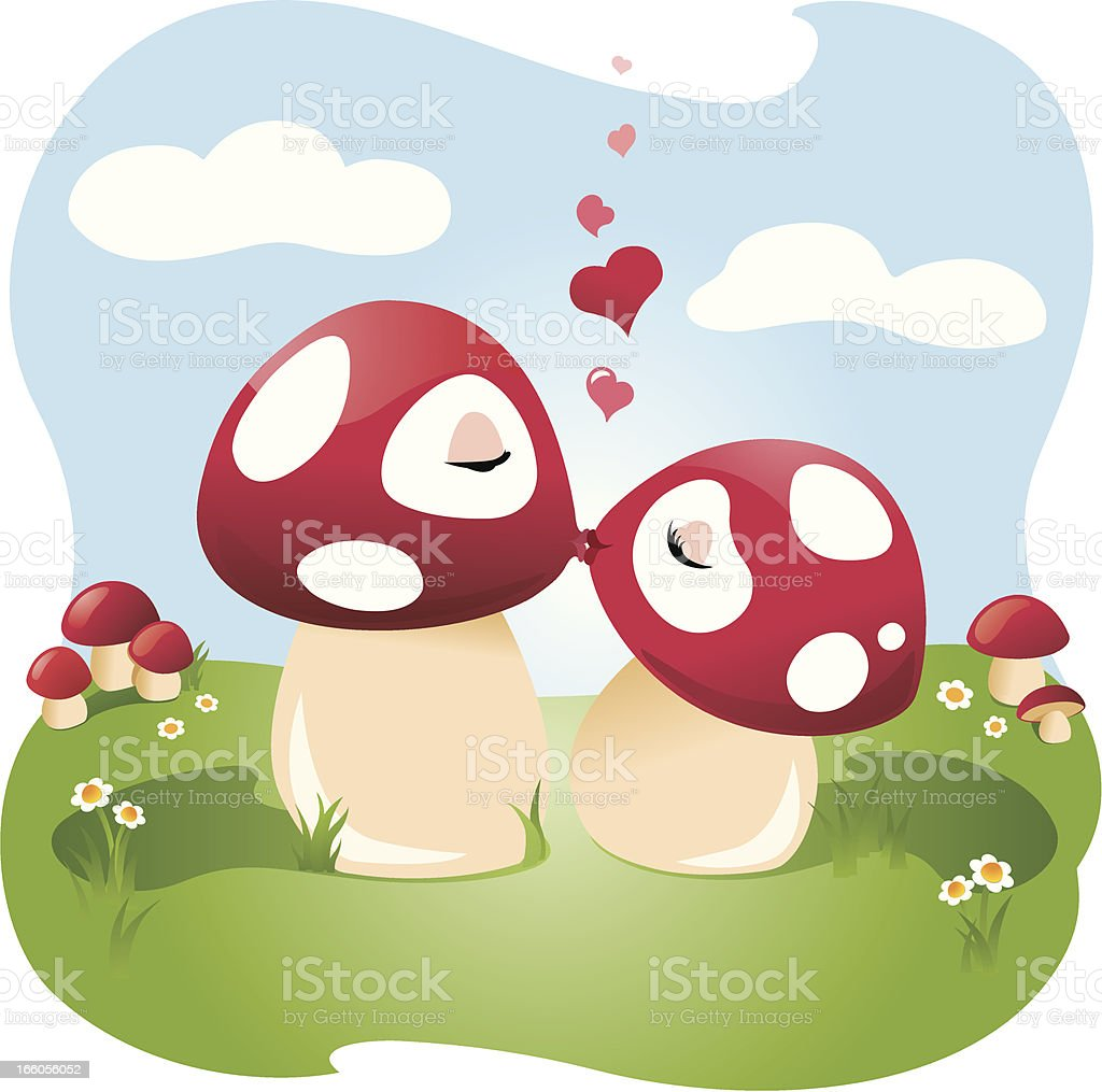 Couple in love kissing outdoors royalty-free stock vector art