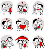 Couple in love kissing, valentine sketch for your design, vector illustration