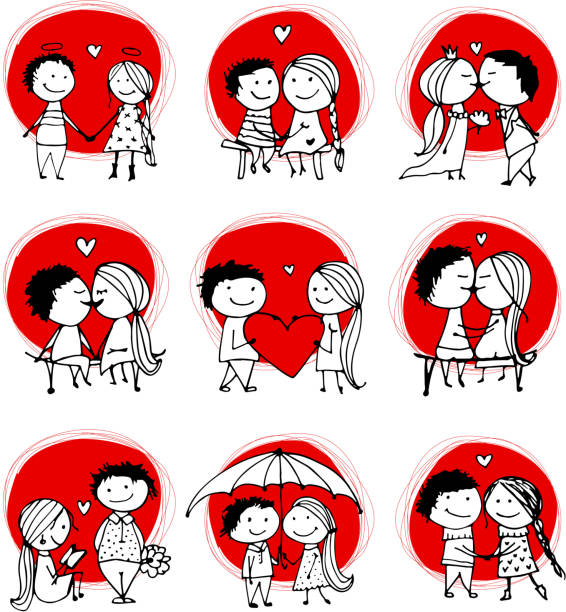couple in love kissing, valentine sketch for your design - couples stock illustrations, clip art, cartoons, & icons