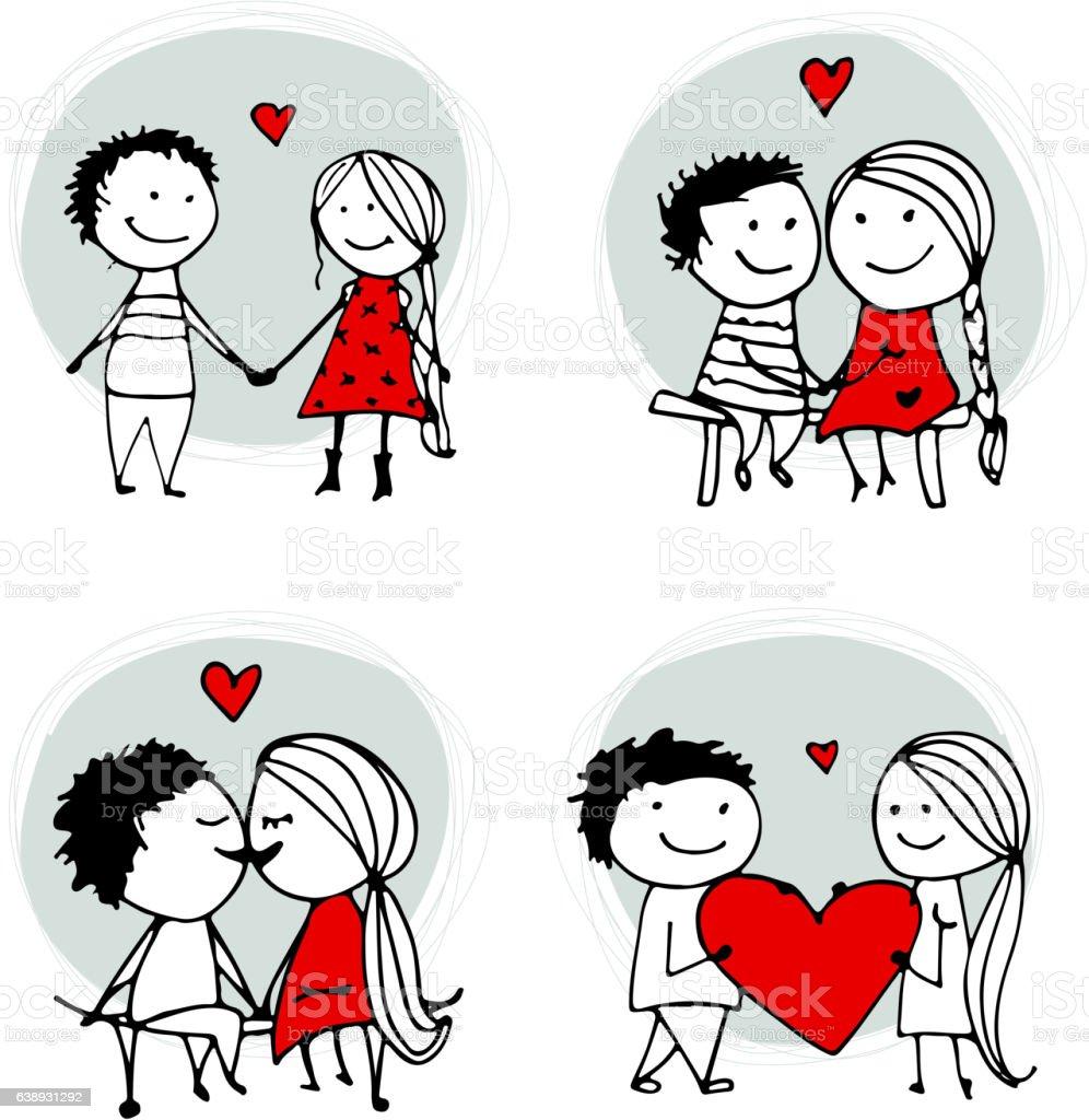 Couple in love kissing, valentine sketch for your design vector art illustration