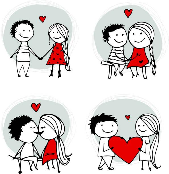 愛のカップルのキス、ヴァレンティーヌスケッチデザイン - 夫婦点のイラスト素材/クリップアート素材/マンガ素材/アイコン素材