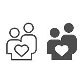Couple in love line and solid icon. Lovers young people with heart shape symbol, outline style pictogram on white background. Relationship sign for mobile concept and web design. Vector graphics