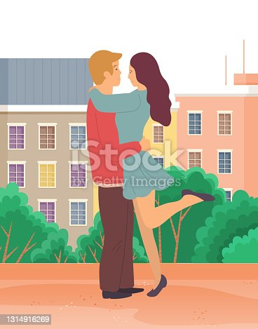 istock Couple in love. Man and woman embracing each other affectionately. Meeting of enamored people 1314916269